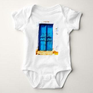 Gandhi Wisdom Quote with Vintage Blue Greek Door Baby Bodysuit