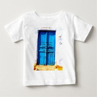 Gandhi Wisdom Quote with Vintage Blue Greek Door Baby T-Shirt