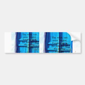Gandhi Wisdom Quote with Vintage Blue Greek Door Bumper Sticker