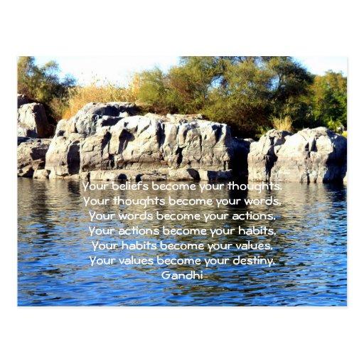 Gandhi Wisdom Saying Quotation About  Destiny Postcard