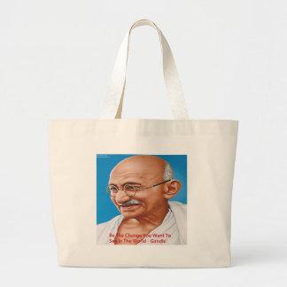 Gandhi y sea la cita del cambio bolsa tela grande