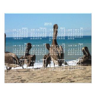 Gandulear pelícanos de la playa; Calendario 2013 Fotografia