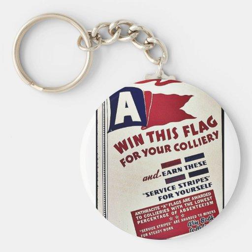 Gane esta bandera para su mina de carbón llavero redondo tipo pin