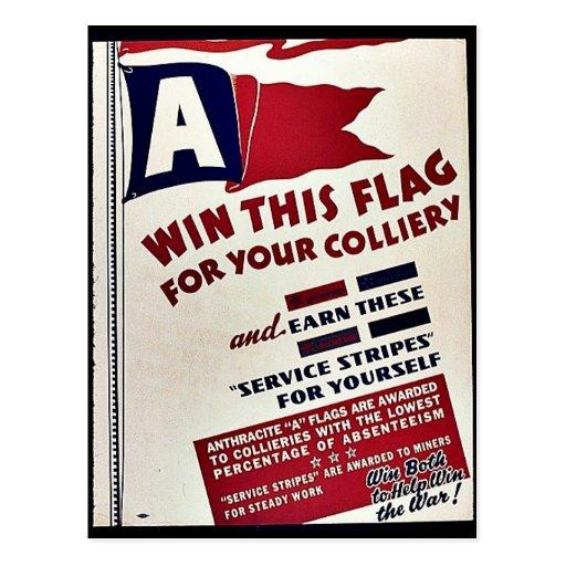 Gane esta bandera para su mina de carbón postal