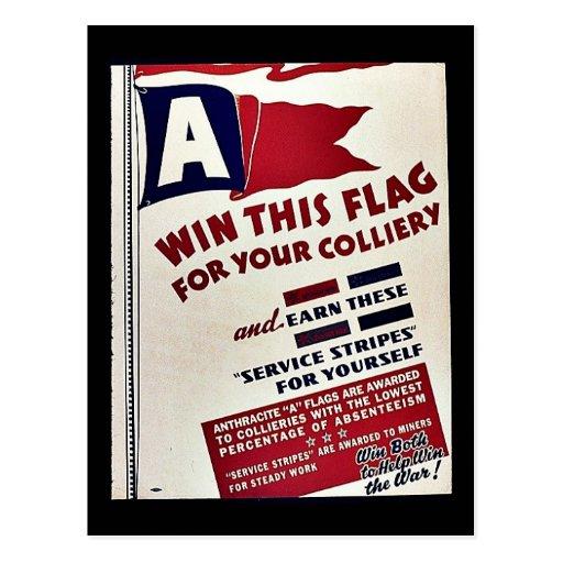 Gane esta bandera para su mina de carbón tarjeta postal