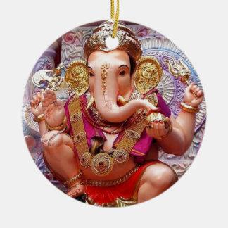 Ganesh (गणेश)  - Indian Elephant Deity Double-Sided Ceramic Round Christmas Ornament