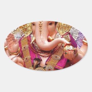 Ganesh (गणेश)  - Indian Elephant Deity Oval Sticker