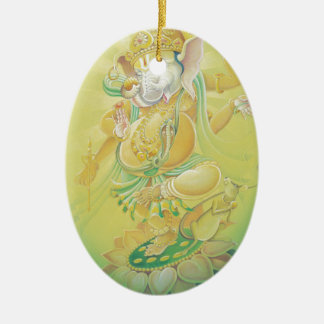 Ganesh Aura Double-Sided Oval Ceramic Christmas Ornament