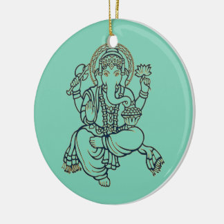 Ganesh Double-Sided Ceramic Round Christmas Ornament