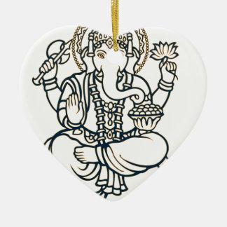 """Ganesh"" Double-Sided Heart Ceramic Christmas Ornament"