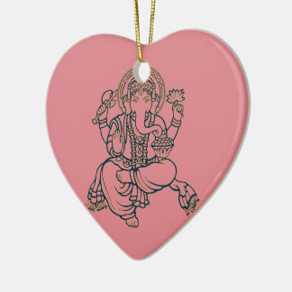 Ganesh Double-Sided Heart Ceramic Christmas Ornament