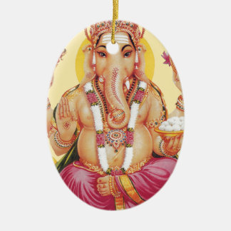 Ganesh Double-Sided Oval Ceramic Christmas Ornament