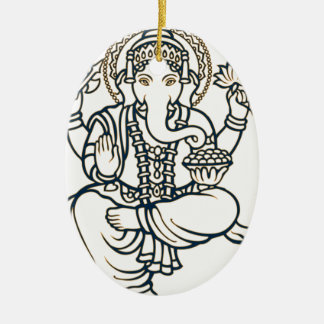 """""""Ganesh"""" Double-Sided Oval Ceramic Christmas Ornament"""
