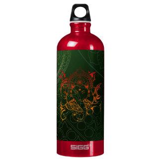 Ganesh Elephant Mandala orange green Yoga Asia Aluminum Water Bottle