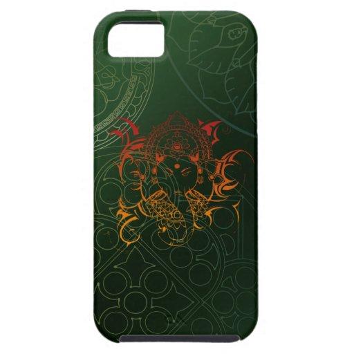 Ganesh Elephant Mandala orange green Yoga Asia iPhone 5 Case