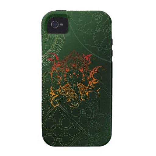 Ganesh Elephant Mandala orange green Yoga Asia Case For The iPhone 4