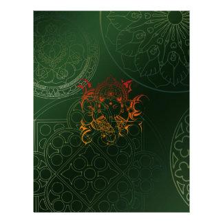 Ganesh Elephant Mandala orange green Yoga Asia Letterhead