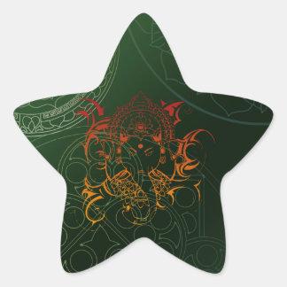 Ganesh Elephant Mandala orange green Yoga Asia Star Stickers