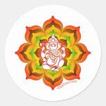 Ganesh en Lotus Etiquetas Redondas