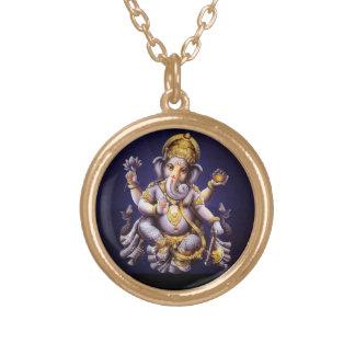 Ganesh Ganesha Hindu India Asian Elephant Deity Round Pendant Necklace