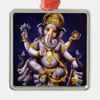 Ganesh Ganesha Hindu India Asian Elephant Deity Square Metal Christmas Ornament
