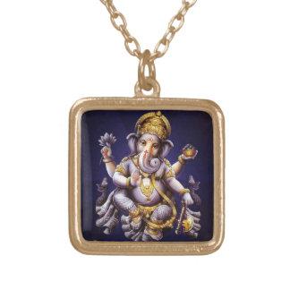 Ganesh Ganesha Hindu India Asian Elephant Deity Square Pendant Necklace