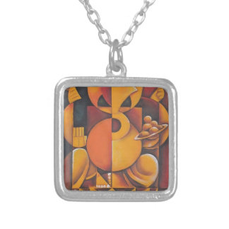 GANESH HINDU GOD ABSTRACT ART SQUARE PENDANT NECKLACE