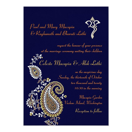 Ganesh Jeweled Gold Silver Paisley Hindu Wedding Invitation Zazzlecom