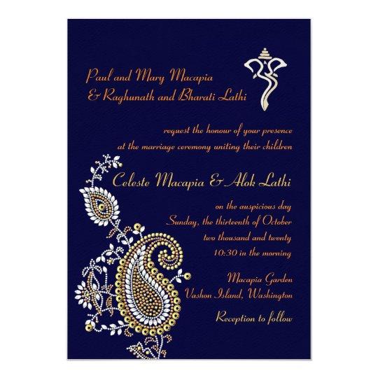 Silver Indian Wedding Invitation: Indian Hindu Ganesh Wedding Invite Garba Mehndi
