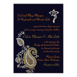 Ganesh Jeweled Gold Silver Paisley Hindu Wedding 5x7 Paper Invitation Card