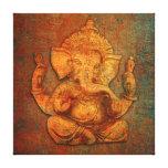 Ganesh On A Distress Stone Background Canvas Print