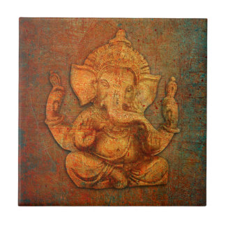 Ganesh On A Distress Stone Background Ceramic Tile