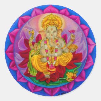 Ganesh Pegatina Redonda