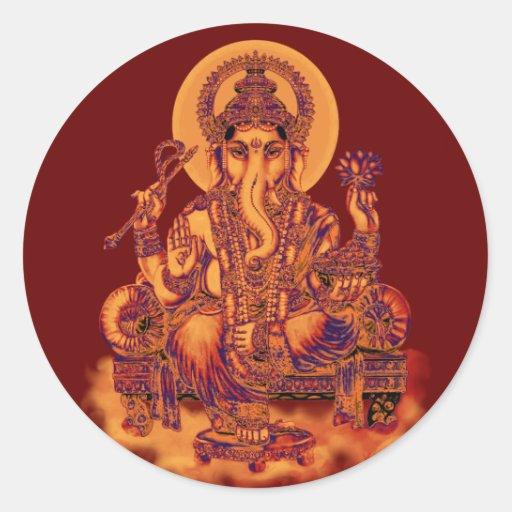 Ganesh - removedor de obstáculos pegatina redonda