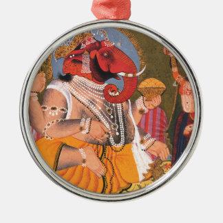 Ganesh Round Metal Christmas Ornament