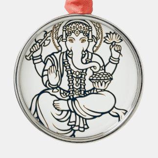 """Ganesh"" Round Metal Christmas Ornament"
