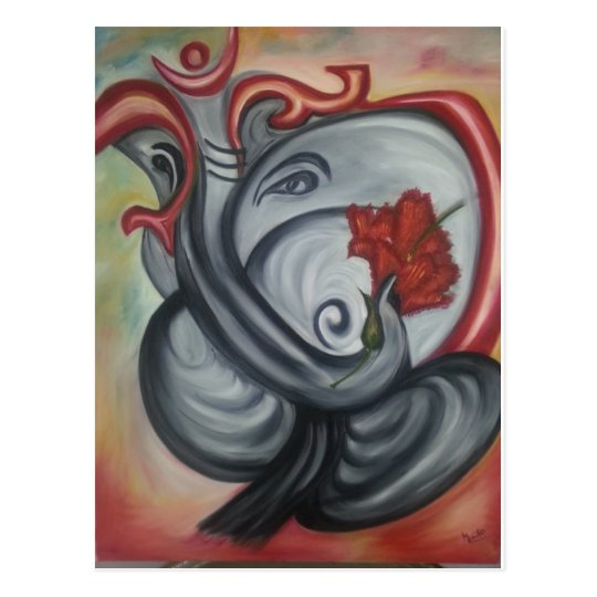 Ganesh's Oil Painting on Canvas Postcard