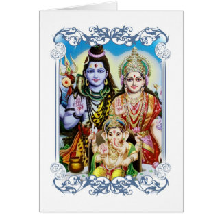 Ganesh, Shiva and Parvati, Lord Ganesha, Durga Card