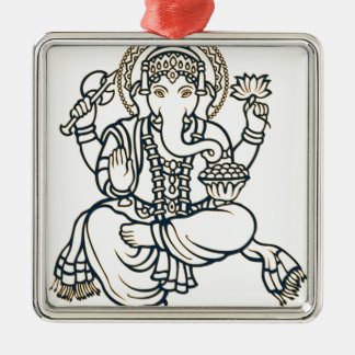 """""""Ganesh"""" Square Metal Christmas Ornament"""