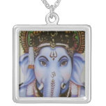 ganesh square pendant necklace