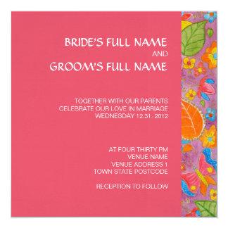 "Ganesh Square Wedding Invitation pink 5.25"" Square Invitation Card"
