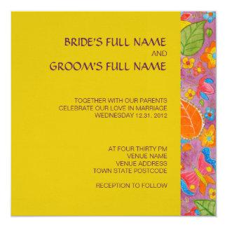 "Ganesh Square Wedding Invitation yellow 5.25"" Square Invitation Card"