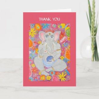 Ganesh Thank You Card pink card
