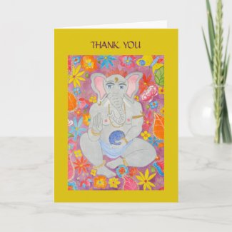 Ganesh Thank You Card yellow card
