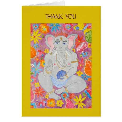Ganesh Thank You Note Card yellow