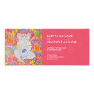 "Ganesh Wedding Announcement pink 4"" X 9.25"" Invitation Card"