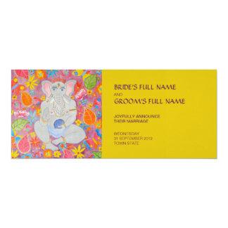 "Ganesh Wedding Announcement yellow 4"" X 9.25"" Invitation Card"