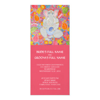 "Ganesh Wedding Invitation pink 4"" X 9.25"" Invitation Card"