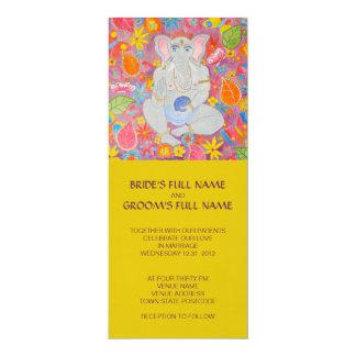 "Ganesh Wedding Invitation yellow 4"" X 9.25"" Invitation Card"