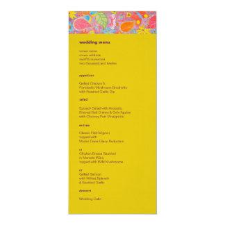 Ganesh Wedding Menu yellow 4x9.25 Paper Invitation Card